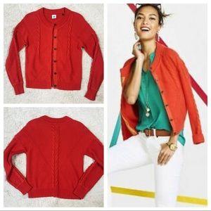 CAbi Citrus Orange Cable Sweater (S)